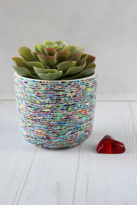Colorful medium size polymer clay indoor planter