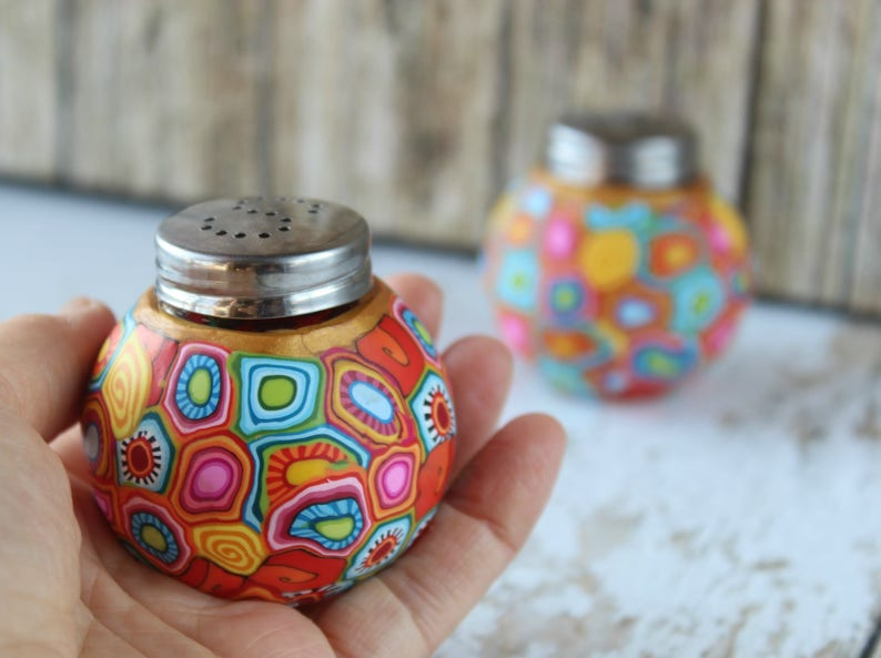 Unique colorful salt and pepper set