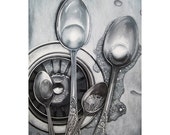 SPOONS BUBBLES stainless steel sink, silverware and bubbles print from my original oil painting