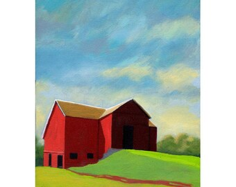 Old Red Barn - Ohio countryside art print from original oil painting