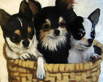 CHIHUAHUA dog animal portrait art print from original oil painting