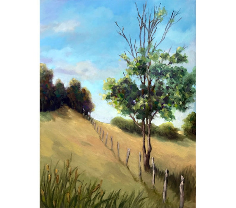 Over the Hill  original oil painting rural country landscape image 0