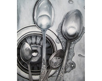 SPOONS & BUBBLES stainless steel sink, silverware and bubbles print from my original oil painting