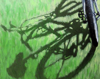 BICYCLE ART go green bicycle art print from original oil painting