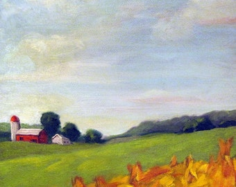 COUNTRY LANDSCAPE ooak art print from original oil painting