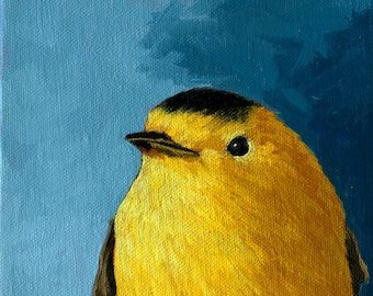 Baby WARBLER  archival print from original animal BIRD oil painting