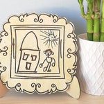 Your Child's Art Engraved on Wood, Replica of Your Kids Drawing Custom Laser Cut, Your Design on Wood, Personalized Gift for Father's Day