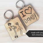 Custom Kids Drawing Engraved Wood Keychain, made with Your Child's Original Art or Writing. Personalized Gift for Dads, Moms, Grandparents