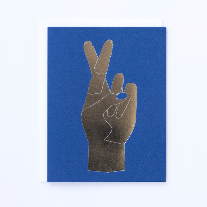 Fingers Crossed silver foil greeting card for luck