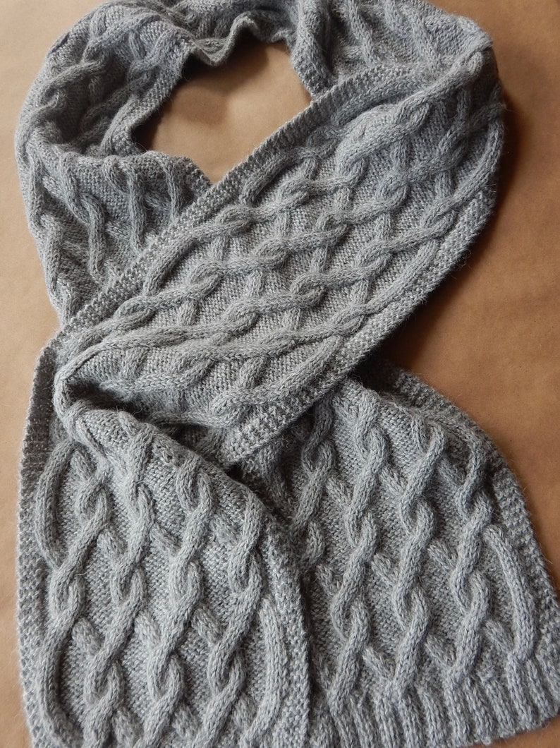 56540e8c76 100% Alpaca Cable Knit Scarf~Women's Scarf~Grey Scarf~Warm Scarf~Ladies  Winter Accessory~Long Scarf