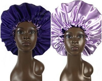 Extra Large Shower Cap, Satin Lined Shower Bonnet, Purple and Lavender, Bath & Shower Hair Care Cap, Handmade, Waterproof, Water Resistant