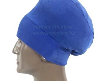 Men's Rasta Crown Beanie, Rasta Hat For Men, Natural Hair Dreadlocks Hat,  Royal Blue, Stretchy Fabric, Handmade Hair Accessories For Men