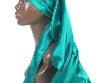 Extra Long Satin Hair Care Bonnet- Single Layered with Long Ties -Handmade -Jade Green -Charmeuse Satin -Quality Women's Hair Accessories