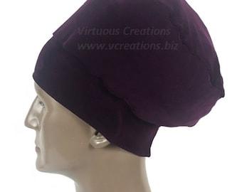 Men's Rasta Crown Beanie, Rasta Hat For Men, Natural Hair Dreadlocks Hat,  Plum, Purple, Stretchy Fabric, Handmade Hair Accessories For Men