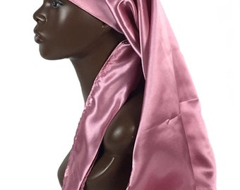 Extra Long Satin Bonnet, Single Layered with Ties, Handmade, Pink, Rose Pink, Charmeuse Satin Quality, Women's Natural Hair Care Accessories