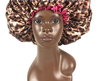 Satin Bonnet, Charmeuse Satin Sleep Cap, Double Sided, Lined, Jumbo Extra Large with Drawstring, Cheetah, Natural Hair Care Accessories