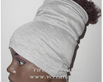 Headband-HeadTube-Locs-HeadWrap- Head Wrap - Natural Hair-Heather Gray-Jersey Natural Hair Accessories