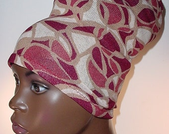 Natural Hair Accessories-HeadBand-HeadTube-Head Wrap- HeadWrap -Locs-Dreadlocks-Burgundy and Tan