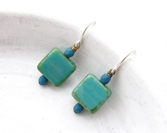 Dainty Square Earrings > Turquoise