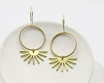 Sun Earrings Dangle / Brass Boho Earrings / Simple Earrings / Dainty Earrings Gold / Modern Earrings / Geometric Earrings / Earrings Gift
