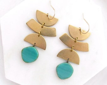 Turquoise Earrings Gold / Statement Earrings Boho / Geometric Earrings Set / Tribal Earrings Brass / Moon Phase Earrings Dangle / Handmade