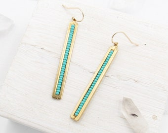 Turquoise Earrings Gold / Turquoise Bar Earrings / Stick Earrings / Beaded Dangle Earrings / Seed Bead Earrings / Earrings Handmade / Gift