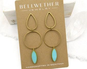Modern Stud Earrings / Turquoise Earrings / Earrings Handmade / Contemporary Post Earrings / Gold Geometric Studs / Statement Earring / Gift