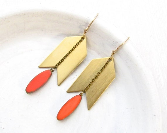 Arrow Earrings > Coral