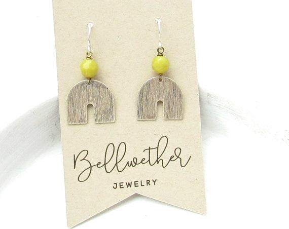 Horseshoe Earrings > Olive Jade