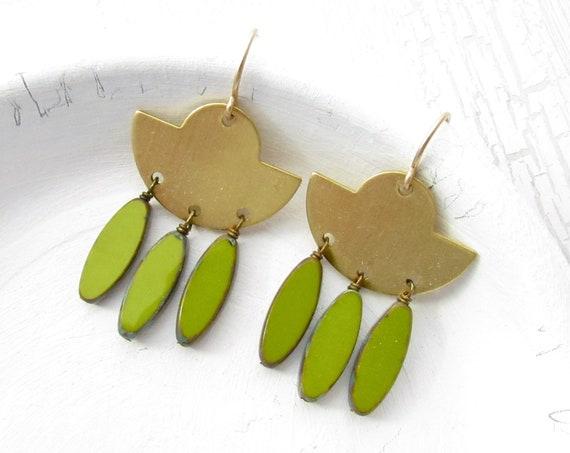 Fringe Earrings > Olive