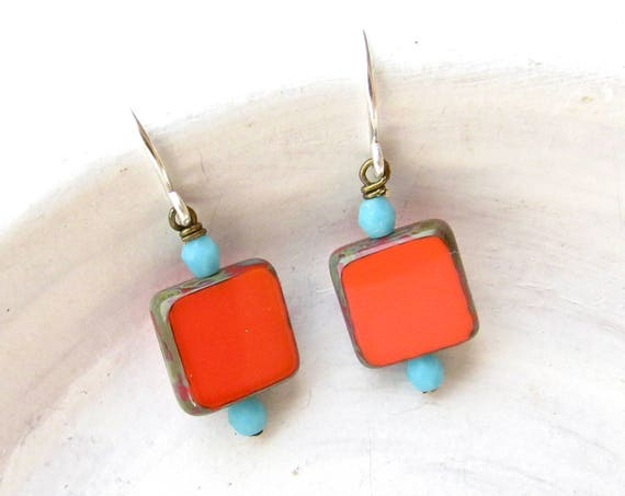 Dainty Square Earrings > Coral