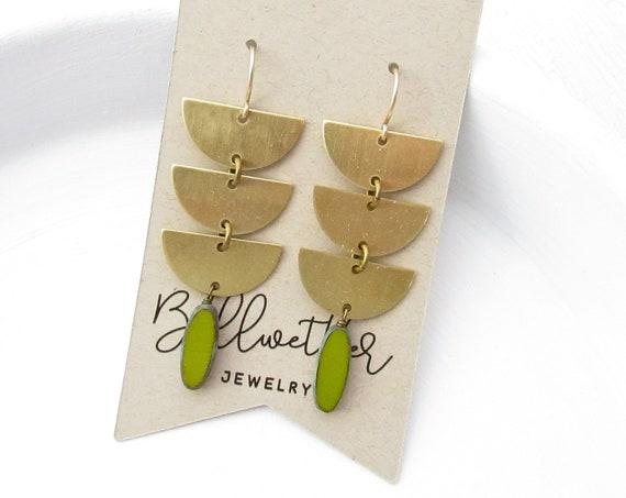 Abstract Earrings > Green