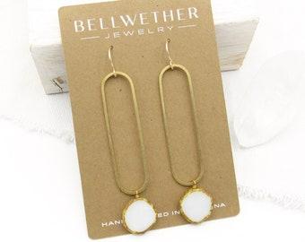 Long Earrings Dangle / Statement Earrings Gold / Modern Earring / Drop Earrings / White Earring / Bridal Earrings / Earrings Handmade / Gift