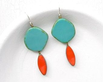 Turquoise Earrings / Earrings Handmade / Colorful Earrings / Turquoise Jewelry / Dangle Earrings / Beaded Earrings / Earring Handmade / Gift