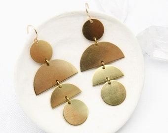 Statement Earrings / Brass Earrings Geometric / Half Moon Earrings / Gold Dangle Earrings / Modern Earrings / Big Earrings / Tribal Earrings