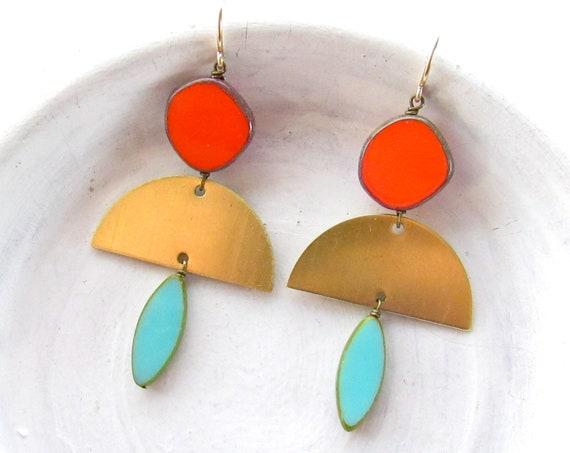 Half Moon Earrings > Turquoise