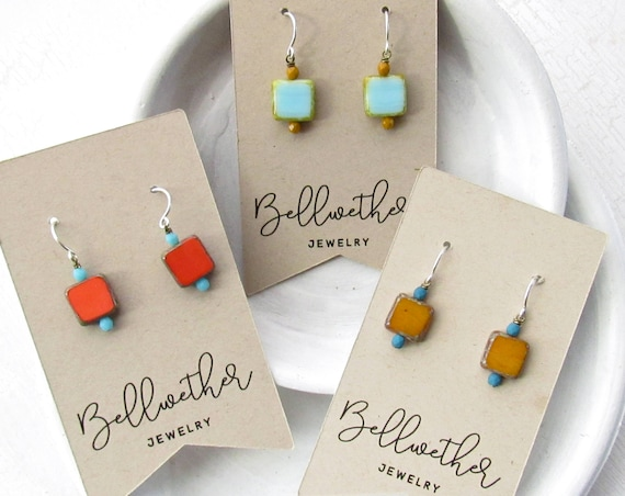 Gift Set - Dainty Square Earrings - Three Pairs