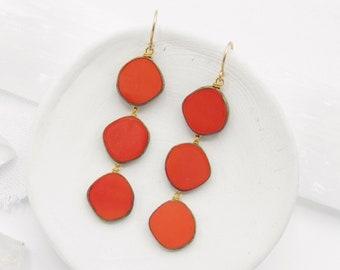 Coral Earrings / Statement Earrings / Beaded Earrings / Earrings Handmade / Modern Earrings / Dangle Earrings / Boho Earrings /