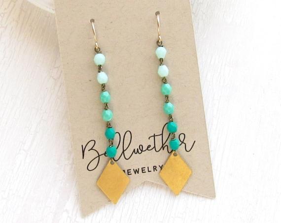 Diamond Drop Earrings > Turquoise