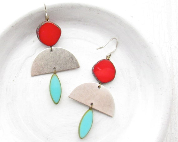 Silver Half Moon Earrings > Turquoise