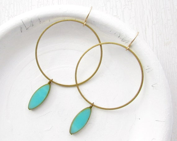 Gold Hoop Earrings > Turquoise