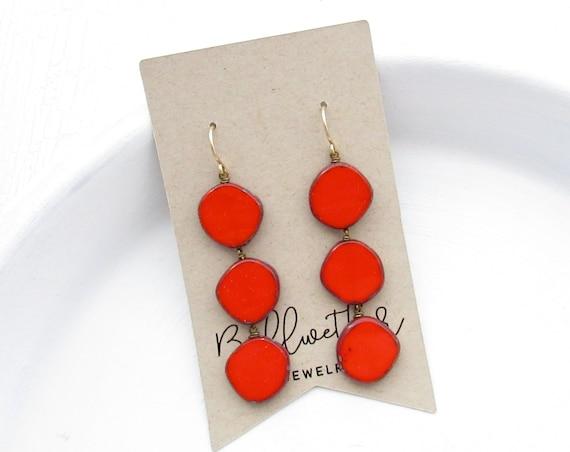 Dot Earrings > Red