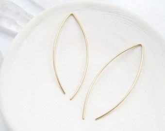 Gold Threader Earrings / Simple Earrings / Gold Wire Earrings / Minimalist Earrings / Wishbone Earrings / Thin Earrings / Open Hoop