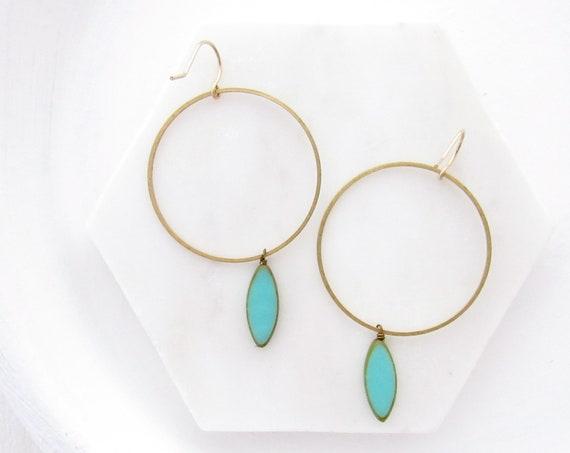 Gold Hoop Earrings > Turquoise