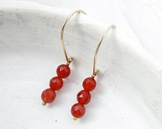 Gold Drop Earrings > Carnelian