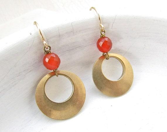 Halo Gemstone Earrings > Carnelian