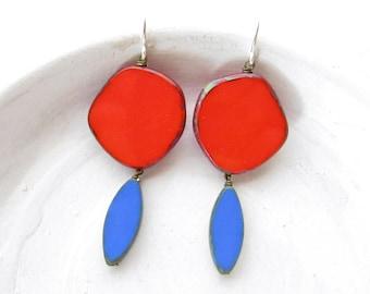 Statement Earrings Geometric / Red Earrings Dangle / Colorful Earrings / Jewelry Gift / Modern Earrings / Contemporary Jewelry / Handmade