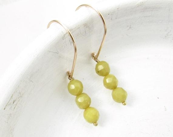Gold Drop Earrings > Olive Jade