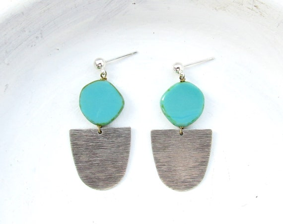 WHOLESALE LISTING // Silver Paddle Studs - Turquoise // ESPT