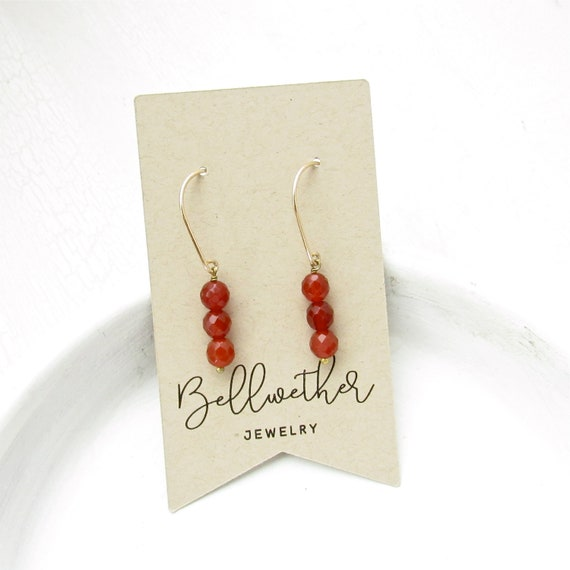 Gold Drop Earrings > Carnelian